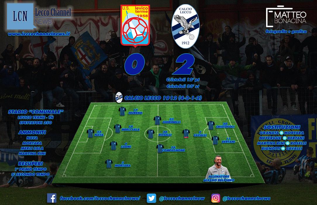 La formazione della Calcio Lecco schierata a Levico Terme